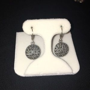 Sterling Silver Lever-back Marcasite Earrings